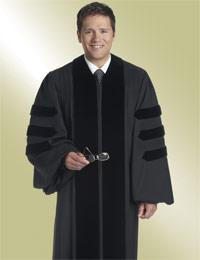 mens black pulpit robe preaching with doctoral bars
