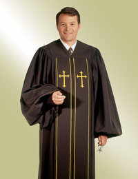 mens black pulpit robe preaching with gold crosses