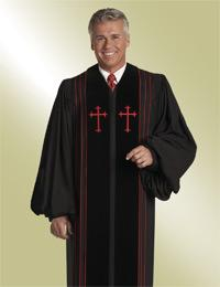 mens black pulpit robe preaching with red crosses