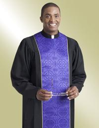 mens black pulpit robe with purple brocade
