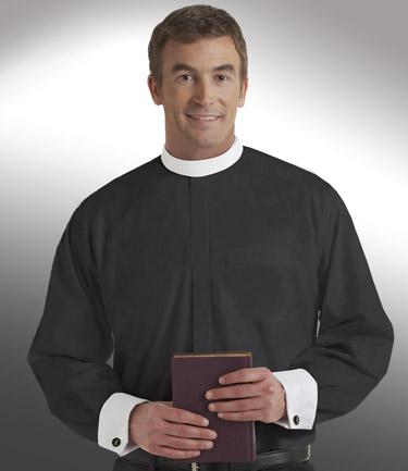 mens long sleeve black full collar clergy shirt with cuffs