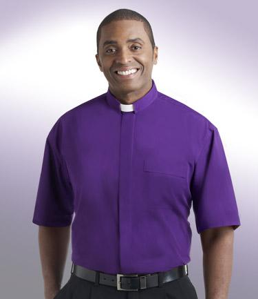 mens purple short sleeve tab collar clergy shirt