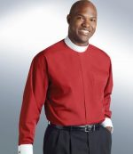 mens red full collar clergy shirt