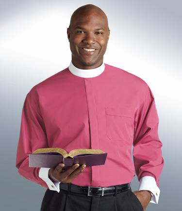 mens roman purple full collar clergy shirt with cuff sleeves
