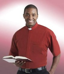 mens short sleeve tab collar red clergy shirt