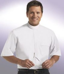 mens short sleeve white full collar clergy shirt