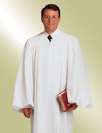 mens traditional white pulpit robe preaching