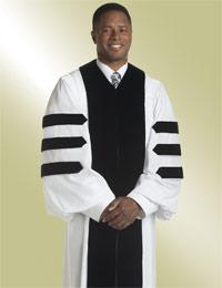 mens white pulpit robe preaching with doctoral bars