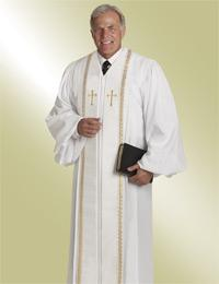 mens white pulpit robe preaching with gold crosses