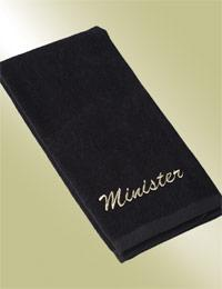 minister black church towel