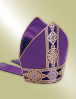 purple bishop mitre with tapestry