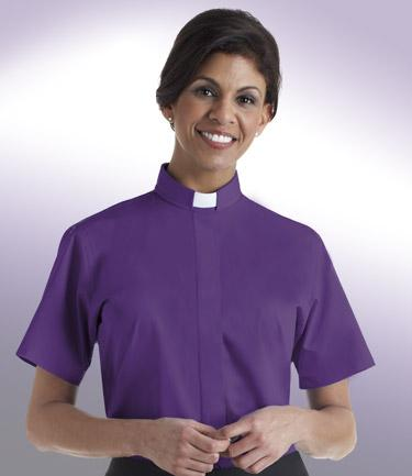 purple short sleeve tab collar ladies clergy blouse