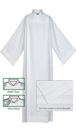 tailored front wrap white lace church alb