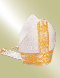 white bishop mitre with tapestry